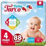 Baby Turco 4 Numara Bebek Bezi 8-14 kg Maxi 88 Adet