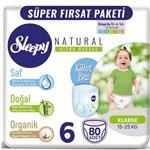 Sleepy Natural 6 Numara Bebek Bezi 15-25 kg XLarge 80 Adet