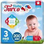 Baby Turco 3 Numara Bebek Bezi 5-9 kg Midi 200 Adet