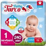 Baby Turco 1 Numara Bebek Bezi 2-5 kg Yenidoğan 240 Adet