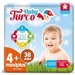 Baby Turco 4+ Numara Bebek Bezi 10-15 kg Maxi Plus 38 Adet