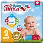 Baby Turco 2 Numara Bebek Bezi 3-6 kg Mini 240 Adet