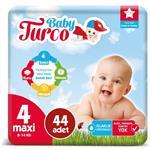 Baby Turco 4 Numara Bebek Bezi 8-14 kg Maxi 44 Adet